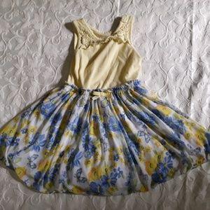 Nannette 3t yellow floral dress